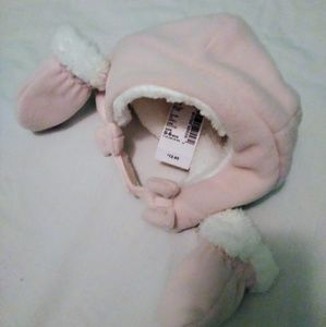 0-6 Month Baby Girl Fleece Winter Hat & Mitten Set
